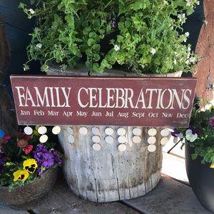 Family Celebration Red Sign